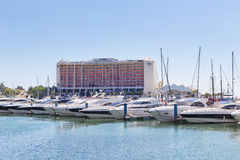 Luxury yacht in the port of Vilamoura in Portugal, near the hote Royalty Free Stock Images