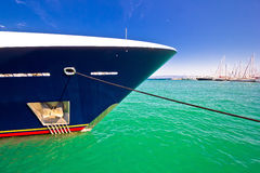 Luxury yacht prow view on colorful sea Stock Photos