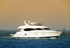 Luxury yacht returning back to port Royalty Free Stock Photography