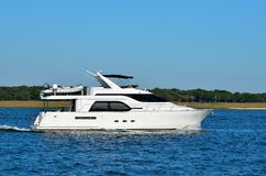 Luxury yacht on river in Florida Stock Image