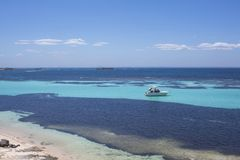 Luxury yacht at Rottnest Island, Western Australia, Australia stock photo