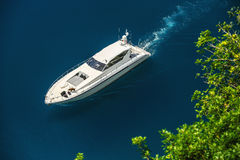 Luxury yacht sailing in Mediterranean Sea near French Riviera. Monacon Royalty Free Stock Images