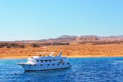 Luxury yacht is sailing in the Red Sea Stock Image