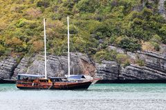 Luxury yacht sailing in the tropical island , white sand beach and sea at Samui. Gulf of Thailand stock photography