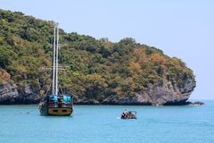 Luxury yacht sailing in the tropical island , white sand beach and sea at Samui. Gulf of Thailand stock images