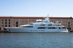 Luxury yacht Samar in the port of Genoa, Italy Stock Photography