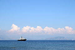 Luxury yacht on sea Corfu island royalty free stock photos