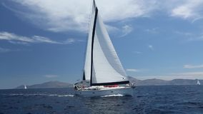 Luxury yacht at sea race. Sailing regatta. Cruise yachting stock video