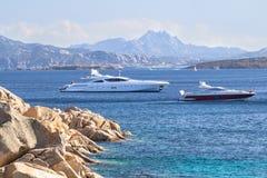 Luxury yacht in the sea. Sardinia, Italy Stock Image