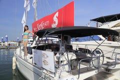 Luxury yacht sense 43 with a model. Luxury yacht  sense 43 in wuyuanwan bay, amoy city, china Stock Photos