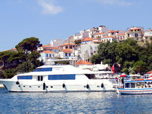 Luxury Yacht, Skiathos, Greece. Stock Photo