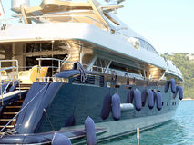 Luxury Yacht, Skiathos town, Greece. Royalty Free Stock Photography