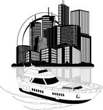 Luxury yacht and skyscrapers Royalty Free Stock Image