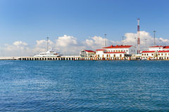 Luxury yacht in Sochi seaport, Russia Royalty Free Stock Photos
