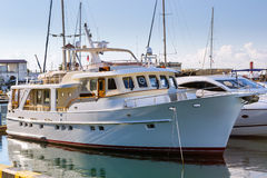 Luxury yacht in Sochi seaport, Russia Royalty Free Stock Image