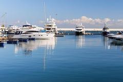 Luxury yacht in Sochi seaport, Russia Royalty Free Stock Photo