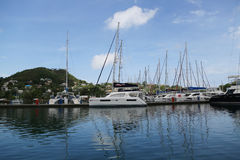 Luxury yacht in St George`s Marina, Grenada Stock Images