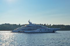 Luxury on the sea - Greece, Europe. A luxury yacht is standing on the Ionian Sea nearby Corfu island Stock Photo