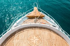 Luxury yacht, stern interior, comfortable design for rest leisure tourism travel royalty free stock photo