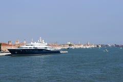 Luxury yacht in summer Venice harbor marina Royalty Free Stock Photos