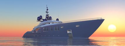 Luxury yacht at sunset. Computer generated 3D illustration with a luxury yacht at sunset Stock Photo