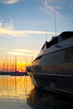 Luxury yacht at sunset Stock Images