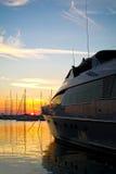 Luxury yacht at sunset Stock Images