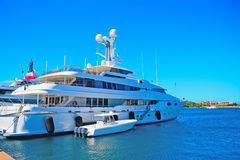 Luxury yacht and tender in Porto Cervo Stock Photo