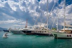 Luxury yacht at Tivat marina Stock Photo