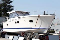Luxury yacht on trailer Stock Image