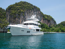 Luxury yacht at tropical island Royalty Free Stock Image
