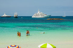 Luxury yacht in turquoise beach of Formentera Illetes  AUGUST 21 Stock Images