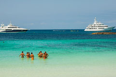 Luxury yacht in turquoise beach of Formentera Illetes  AUGUST 21 Stock Image