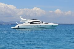 Luxury yacht in turquoise Illetes Formentera Stock Photos