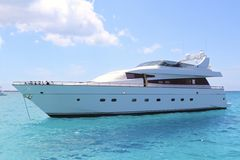Luxury yacht in turquoise Illetes Formentera Stock Photo