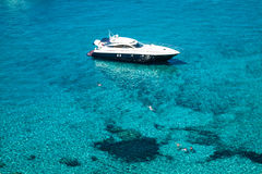 Luxury yacht in turquoise Illetes Formentera mediterranean sea B Stock Images