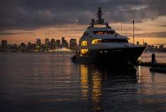 Luxury Yacht Twilight, Vancouver Stock Photo