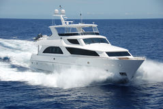 Luxury Yacht underway royalty free stock photography