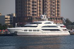Luxury Yacht Visits Kaohsiung Port Stock Photo