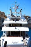 Luxury yacht in Vittoriosa marina, Malta. Luxury yacht moored in the marina, Vittoriosa, Malta, Europe Stock Photo