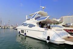 Foreign caucasian on luxury big yacht, adobe rgb. Luxury yacht in wuyuanwan bay, xiamen city, fujian province, china. xiamen has two large yacht terminals royalty free stock image