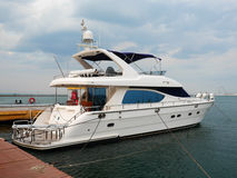 A luxury yacht at the yacht club Royalty Free Stock Photo