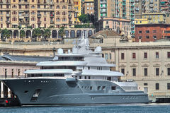 Luxury Yacht. S moored in the port of Genoa Stock Images