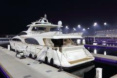 Luxury yacht in Yas Marina. At night. Abu Dhabi United Arab Emirates Stock Photo