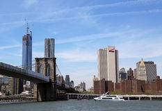 Luxury yacht Zephyr under Brooklyn Bridge Royalty Free Stock Image