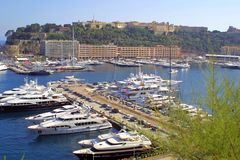 Luxury yachts. In sea port of Monte-Carlo, Monaco stock photos