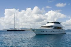 Luxury Yachts. Two luxury yachts anchored in the Caribbean stock images