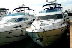 Luxury yachts. Close up of luxury yachts royalty free stock photos