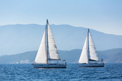Luxury yachts at Aegean Sea. Cruise yachting. Stock Images