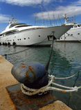 Luxury yachts anchored. Anchored whites luxury yachts in marine Split - Croatia - Dalmatia stock image